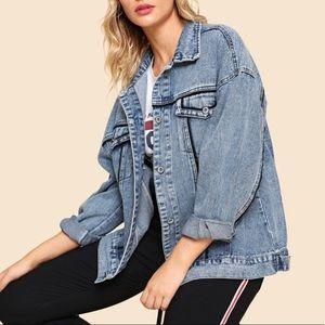 Jackets & Blazers - 100% Cotton Drop Shoulder Faded Jean Jacket